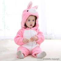 achat en gros de flanelle matelassés-Bébé filles Vêtements chauds Coton Flanelle Quilted Jumpsuit Cartoon Animal Rose lapin Baby Rompers Girl Baby Clothing