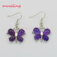 amethyst butterfly earrings - musiling Jewelry Dangling Earrings Butterfly Long Earring Drop Gem Stone Crystal Amethyst Opal etc Ear Accessories For Women Charms Jewelry