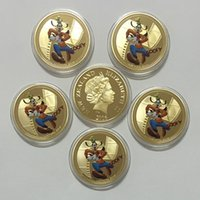 Metal Plated Picture color 5 pcs lot,24k Gold Coin 999.9 Fine Gold Plated Goofy Cartoon Coin Good Quality Metal Crafts Non-currency Coins for Gifts