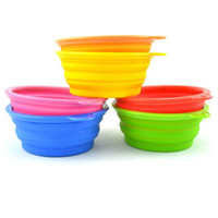 Wholesale Dog Cat Fashion Colorful Silicone Collapsible Feeding bowls for Pet Dog Water Feeder Bowl Pet Supplies Travel Dish Folding Dog Bowl PD011