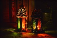Wholesale New arrival Hollow Castle metal candle holders Black White Morocco Iron lantern For Wedding Favors Gift Home Decorations Supplies