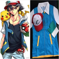 ash t shirt - Adult Japanese Anime Cosplay Costume Clothing Ash Ketchum Hat Cap T Shirt Gloves Halloween Costumes For Women Man