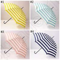 Wholesale Navy Stripe Automatic Umbrella Sunshade Rain Umbrella Long Handle Ultralight Retro Hook Handle designs LJJO1011