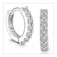 Wholesale Fashion Jewelry Sterling Silver Rhinestones Hoop Diamond Stud Earrings for Women Pair Beautiful Earrings Gift