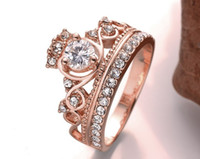 Wholesale Elegant Luxury Sliver Rose Gold Plated Engagement Party Ring Fashion Crystal Rhinestone Crown Rings For Women JY