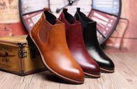 Botas de moda de tobillo botas de cuero de los hombres de Martin botas impermeables calientes botas de punta de invierno zapatos de tacón alto