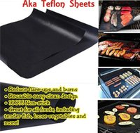 Wholesale New Arrivel Outdoor Barbecue Grilling Liner BBQ Grill Mat Portable Non stick Reusable Make Grilling Easy Oven Hotplate Mats BBQ Tools
