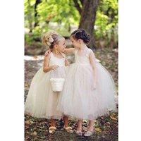 baby tea party - 2017 Cute Cap Sleeve Tea Length Ball Gown Flower Girl Dresses Net Baby Girl Party Christmas Pageant Dresses Children Flower Girl Gowns