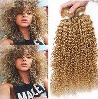 El cabello humano rubio de la melena del pelo 3Pcs # 27 brasileño tece extensiones El pelo humano de la Virgen rubia rizada de la fresa riza los repartos 12-24
