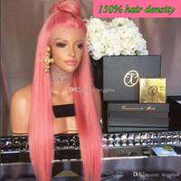 al por mayor armadura brasileña rosa-Pelucas llenas del cordón del pelo humano brasileño pelucas del cordón del pelo humano para las mujeres negras recto encadena las pelucas delanteras del cordón color rosado del pelo del casquillo