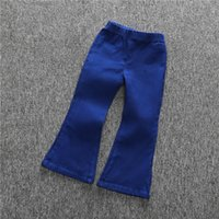 achat en gros de jean gros pour les enfants-Bébé fille Denim Bells Pantalon Ruffles Mignon Enfants Filles Vintage Mode Été Automne Pantalons Enfants gros 6pcs / lot