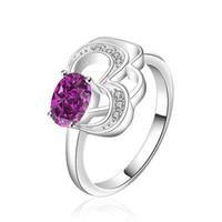 Wholesale wedding Hollow sapphire butterfly sterling silver ring GR524 women s purple gemstone silver rings Wedding Rings