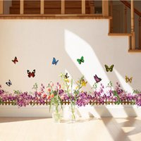 animal fencing - 50 Trumpet Foot Line Purple Fence Color Butterfly Wall Sticker Aisle Corridor Corner Stickers Pegatinas De Pared Home Decor