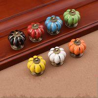 Wholesale 2dr New Arrival Rainbow Ceramics Pumpkin Handle Cartoon Doorknobs Rural Modern Simplicity Drawer Pulls Cupboard Door Handles Factory Direct