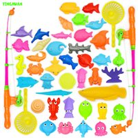 baby fishing pole - set Plastic Magnetic Fishing Toys Set Game Children Poles Nets Magnet Fish Indoor Outdoor Fun years Baby