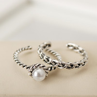 Wholesale Retro sets rotating ring Twist woven pearl open ring silver plated ring whoelsale