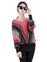 Grossiste-2016 Printemps Et Automne Nouveau Style Femmes Pullover Tricoté Sweater V-Neck Batwing Manche Robe Stripe Mode Sexy Jerseys Coat