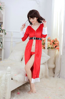 adult christmas pajamas - Lingerie Seduction Sexy Dress Red Plush Pajamas Long Sleeve Hooded Women s Christmas Nightwear Festivals Adult Clothing Uniform size