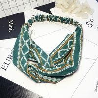Headbands artistic hair - Artistic Crossing Fabrics Hairline Liu Hai head with bow geometric pattern sweet hair ornaments