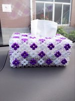 Wholesale Purple Flowers Tissue Box Lovely And Creative Home Decoration