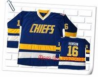 Wholesale Hanson Brothers Charlestown CHIEFS Hockey Jerseys JACK HANSON STEVE HANSON JEFF HANSON SlapShot Movie Stitched Jerseys