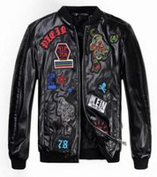 Wholesale New Arrival Mens Autumn Letter Tiger embroidery Jackets And Coats Fashion Casual Slim Stand Collar Black Jackets PU Leather PV20