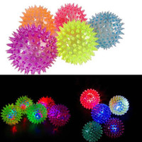 Wholesale Flashing Light Up Spiky Rubber Bouncy Stress Ball Sensory Fidget Toy Halloween Christmas