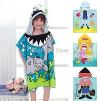 Wholesale 5PC Hooded Poncho Swim Beach Bath Towel Sheet Kids Children Boys Girls Cotton Lovely Cartoon Design Super Soft Towel Robe Bathrobe Wrap