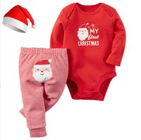 Movie Star baby boy santa outfit - 2016 Christmas Xmas Outfits baby Romper Christmas deer girls boys Santa Claus Romper Striped pants set Xmas bodysuit pant set