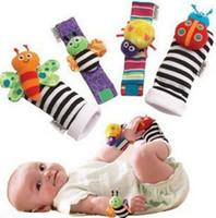 New Arrivée seulzy Wrist rattle pied finder Bébé jouets Bébé Rattle Chaussettes Lamaze Peluche Wrist Rattle + Foot chaussettes bébé