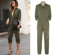 achat en gros de armée jumpsuit-New Arriavl Femmes Casual Army Green Pantalons Lapel Long Sleeve Tops Bodysuit Mode Jumpsuit Rompers Salopettes 161121
