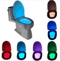 Wholesale 2016 Motion Activated Toilet Night Light Bowl Bathroom LED Color Lamp Sensor Lights