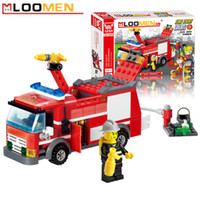 Wholesale J310 Fire Fight Truck set Building Blocks Kits DIY Enlighten Child Educational Construction Bricks Toys Kids Gift