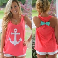 Wholesale Summer Fashion Women print Anchor Casual Fancy Sleeveless Tee Bowknot Simple Vest Tank Sexy T Shirt Party