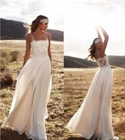 Wholesale Vintage Lace Lurelly Beach Wedding Dresses Spaghetti A line Chiffon Floor Length Bridal Dresses Simple Cheap Wedding Gowns