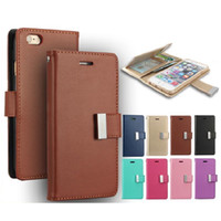achat en gros de cadres photo-Pour iPhone 7 MERCURY Coospery Wallet Case pour Galaxy Note 7 Rich Diary PU Leather Card Slot Multi Function Portefeuille Photo Frame Case OPP Sac