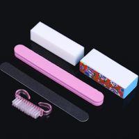 Wholesale 5Pcs Set Professional Manicure Tools Kit Rectangular Nail Files Brush Nail Art Accessories double sided sand bar sponge filing
