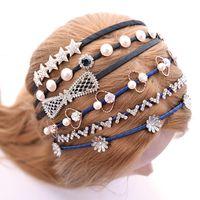 Wholesale Knot Headband diamond pearl hair bows women Hair band clips headscarf Ornaments Toddler girls Head Wrap jewelry