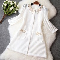 Wholesale British style trench coat High quality new women ladies autumn winter fashion hollow out embroidery coat q0425