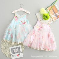 achat en gros de robe princesse-3 Color Girl Summer Lace Sling Dress Enfants Cartoon Flower Print gilet sans manche feuille princesse glands Tutu robes B001