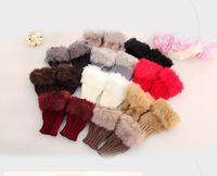 Wholesale Girl fingerless gloves Knitted Faux Rabbit Fur gloves Mittens Winter Arm Length Warmer outdoor Fingerless Gloves