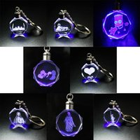 Wholesale 3D laser inside carving luminous key buckle pendant promotion craft gift factory direct sales