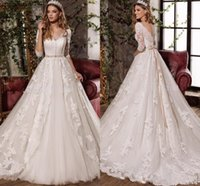 Wholesale 2017 New Bow Crystal Sash Wedding Dresses With Gorgeous V Neck Sleeve See Through Back Sweep Train Bridal Gown