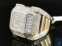 Wholesale 14k Real Yellow Gold Round Cut Vs Invisible XL Diamond Pinky Band Ring Ct