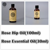Coconut Whitening Weight Loss Wholesale-Famous brand AKARZ Whitening sets pure Rose essential oil(30ml) Rose Hip oil(100ml) Repair body Massage spa Oil Rose Oil