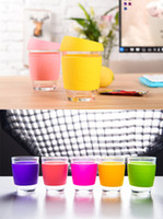 Wholesale 2017 hot Keep Cup Glass Coffee Cups Candy Color Scald proof Design Travel Cups Coffee tee Mug oz Glass Reusable Coffee Cup