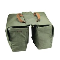 Wholesale Tourbon Waterproof Canvas Bicycle Rear Seat Carrier Bag Bike Cycling Rolled Up Pannier Bag pack Green Blue