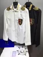 Wholesale Balmain men s CASUAL SHIRT MENS polo silk embroidery