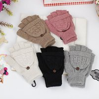 Wholesale 5 Color Winter Women Gloves Mittens Winter Warm Knitting Half Finger Gloves Crochet Gloves With Cover Christmas Gift PPA790