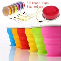 Wholesale Colorful silicone Retractable Folded Cups with cover ML Telescopic Drinking Collapsible Vogue Outdoor Travel Camping Folding Cup Free DHL